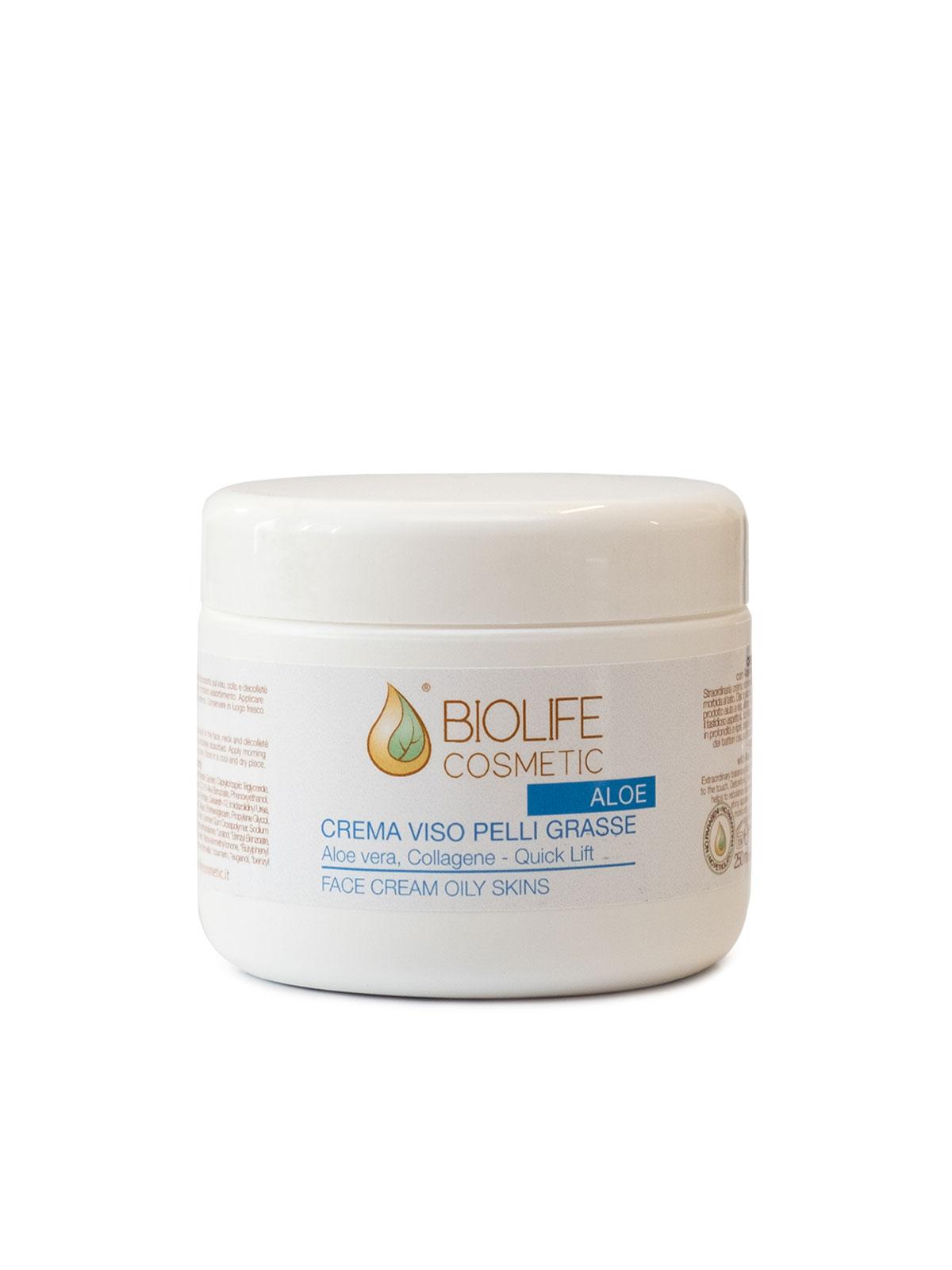 Crema viso pelli grasse con aloe vera 50 ml - 250 ml..